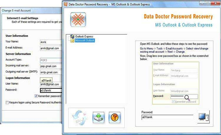 outlook, express, password, recovery, software, rescue, lost, hidden, user, logi